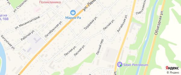 Лесная улица на карте села Майма Алтая с номерами домов