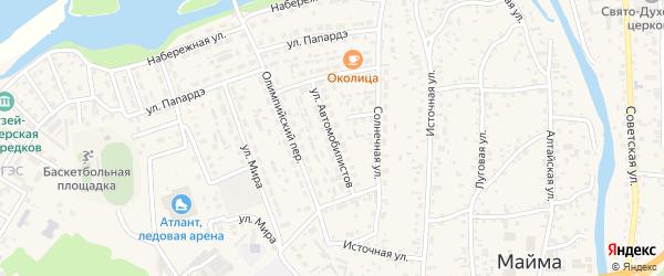 Улица Автомобилистов на карте села Майма Алтая с номерами домов