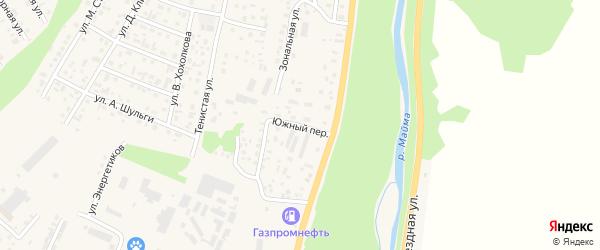Южный переулок на карте села Майма Алтая с номерами домов