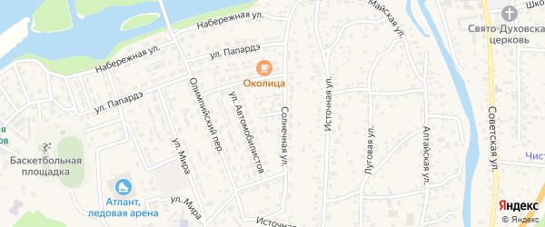 Солнечный переулок на карте села Майма Алтая с номерами домов