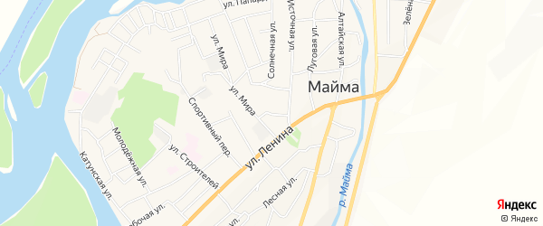 Садовое товарищество сдт Родничок на карте села Майма Алтая с номерами домов