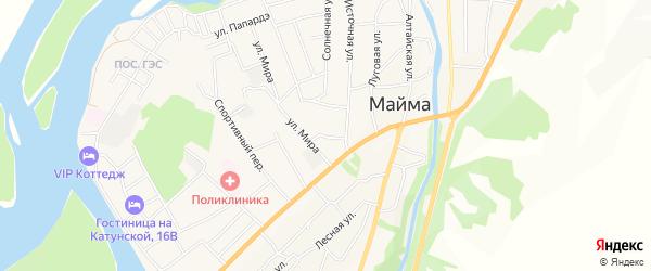Юбилейный ГСК на карте села Майма Алтая с номерами домов