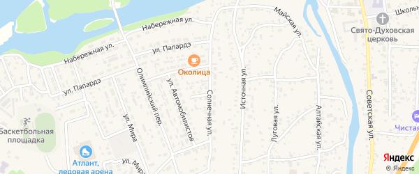 Солнечная улица на карте села Майма Алтая с номерами домов