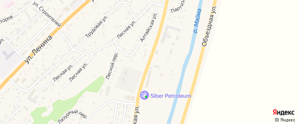 Алтайская улица на карте поселка т/б Юность Алтая с номерами домов