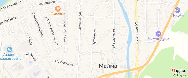 Луговая улица на карте села Майма Алтая с номерами домов