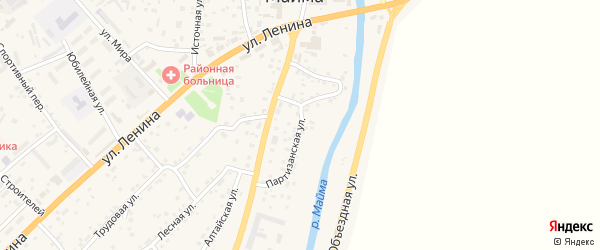 Партизанская улица на карте села Майма Алтая с номерами домов