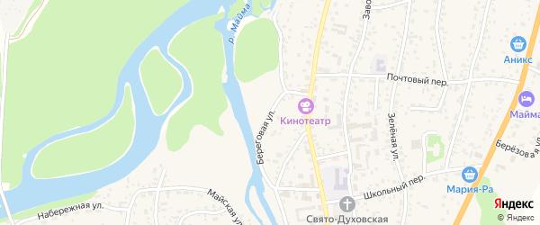 Береговая улица на карте села Майма Алтая с номерами домов