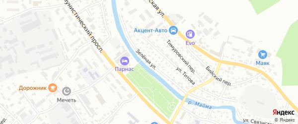 Зеленая улица на карте Горно-Алтайска с номерами домов