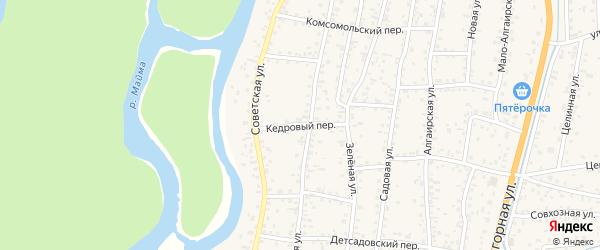 Кедровый переулок на карте села Майма Алтая с номерами домов