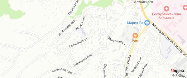 Гончарная улица на карте Горно-Алтайска с номерами домов