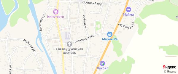 Школьный переулок на карте села Майма Алтая с номерами домов