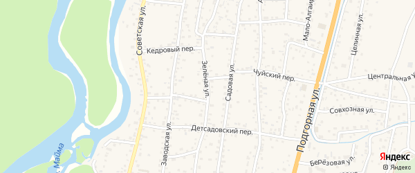 Зеленая улица на карте села Майма Алтая с номерами домов