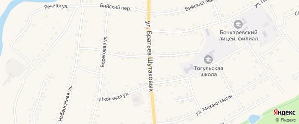 Улица Братьев Шутаковых на карте села Тогула с номерами домов