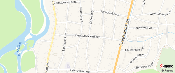 Детсадовский переулок на карте села Майма Алтая с номерами домов