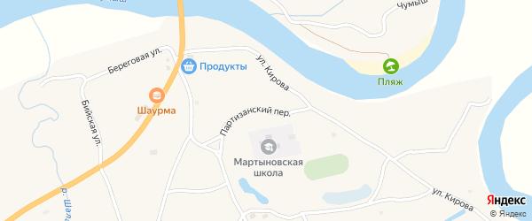 Партизанский переулок на карте села Мартыново с номерами домов