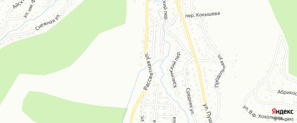Рассветная улица на карте Горно-Алтайска с номерами домов