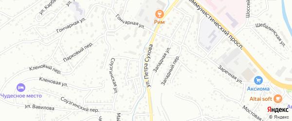 Улица П.Сухова на карте Горно-Алтайска с номерами домов