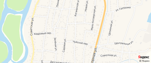 Алгаирская улица на карте села Майма Алтая с номерами домов
