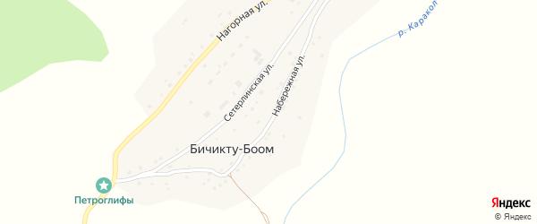 Набережная улица на карте села Бичикту-Боома Алтая с номерами домов