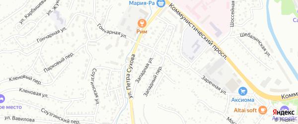 Западная 2-я улица на карте Горно-Алтайска с номерами домов