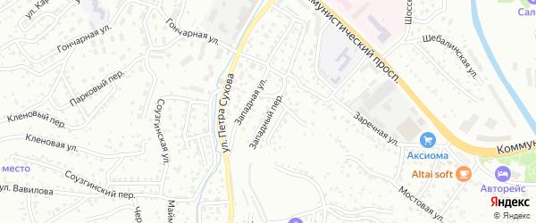 Западный переулок на карте Горно-Алтайска с номерами домов