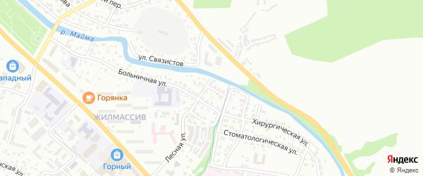 Больничный переулок на карте Горно-Алтайска с номерами домов