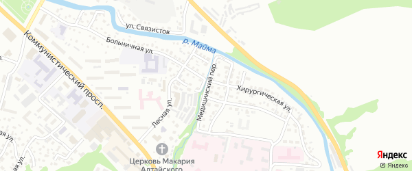 Медицинский переулок на карте Горно-Алтайска с номерами домов