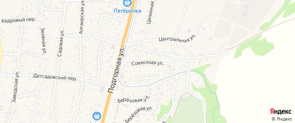Совхозная улица на карте села Майма Алтая с номерами домов