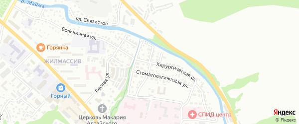 Хирургический переулок на карте Горно-Алтайска с номерами домов