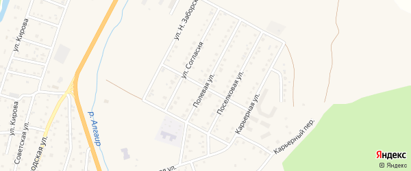 Полевая улица на карте села Майма Алтая с номерами домов