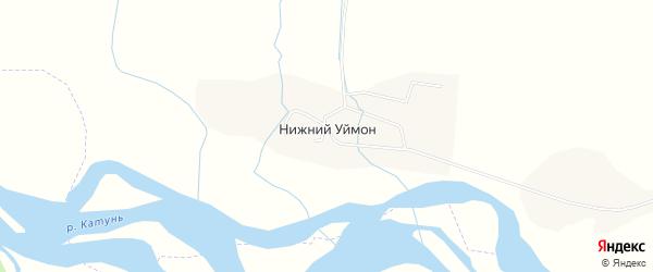 Карта села Нижнего Уймона в Алтае с улицами и номерами домов