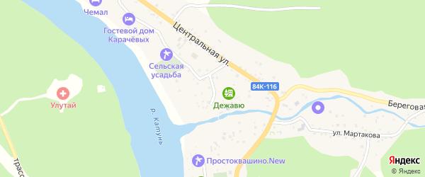 Набережный переулок на карте села Узнези Алтая с номерами домов