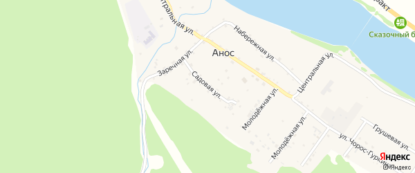 Садовая улица на карте села Аноса Алтая с номерами домов