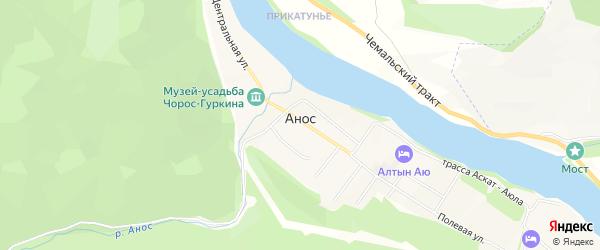 Карта села Аноса в Алтае с улицами и номерами домов