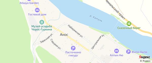 Набережная улица на карте села Аноса Алтая с номерами домов