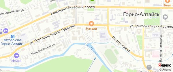 Проточный переулок на карте Горно-Алтайска с номерами домов