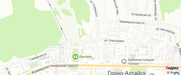 Переулок Юннатов на карте Горно-Алтайска с номерами домов