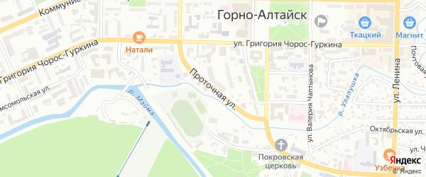 Проточная улица на карте Горно-Алтайска с номерами домов