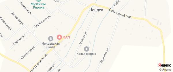 Совхозный переулок на карте села Чендека Алтая с номерами домов