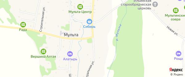 Центральная улица на карте села Мульты Алтая с номерами домов