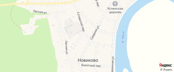 Складской переулок на карте села Новиково с номерами домов