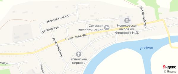 Почтовый переулок на карте села Новиково с номерами домов