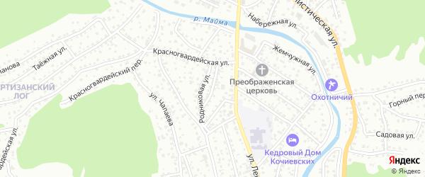 Родниковый переулок на карте Горно-Алтайска с номерами домов