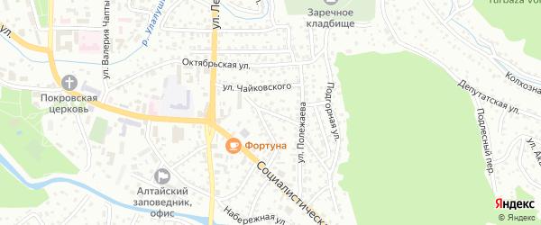 Поперечный переулок на карте Горно-Алтайска с номерами домов