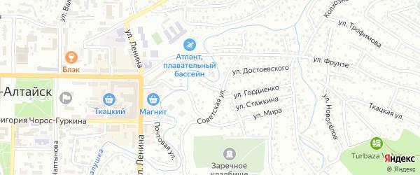 Советский переулок на карте Горно-Алтайска с номерами домов