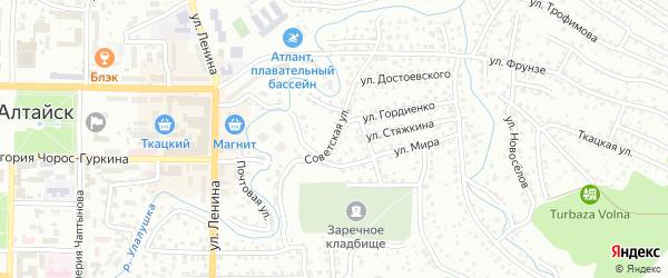 Советская улица на карте Горно-Алтайска с номерами домов