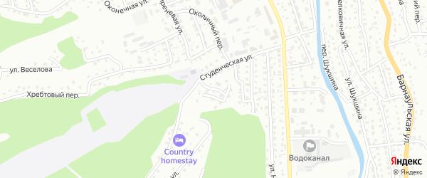 Университетский переулок на карте Горно-Алтайска с номерами домов