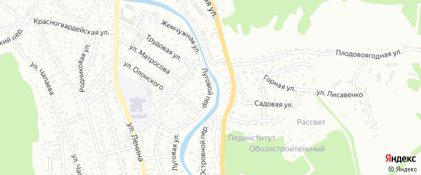 Луговой переулок на карте Горно-Алтайска с номерами домов