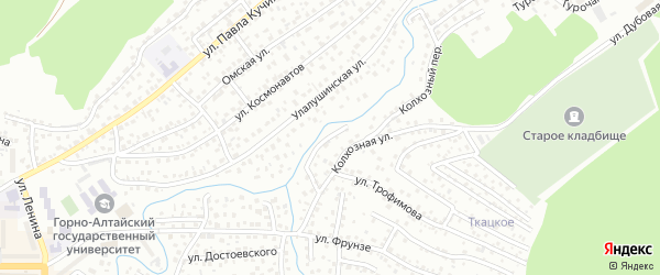 Прибрежный переулок на карте Горно-Алтайска с номерами домов