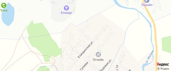 Пойменная улица на карте села Кызыла-Озька Алтая с номерами домов